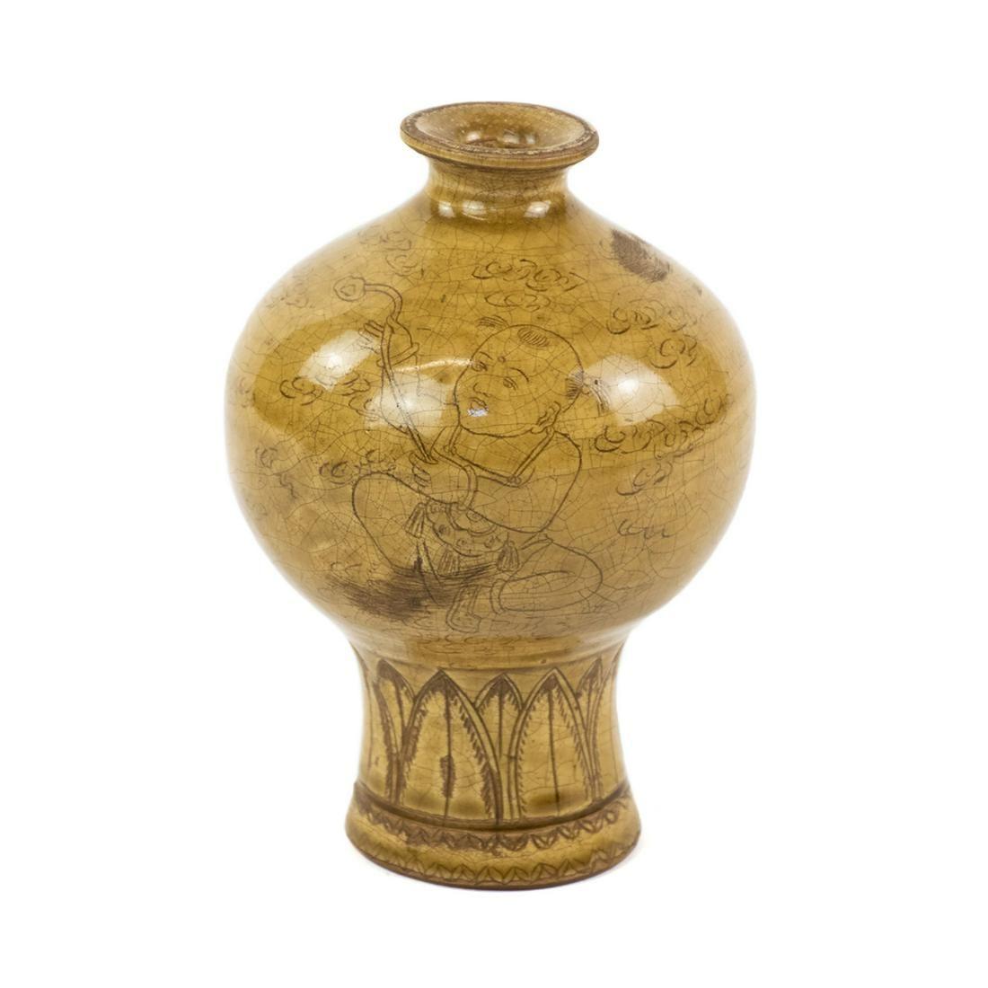 Antique Chinese Yellow Glaze Plum Vase