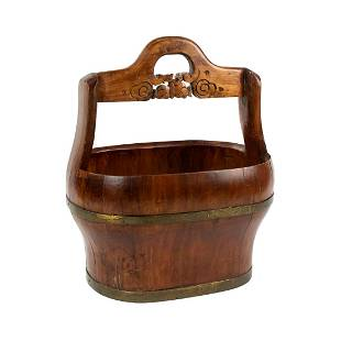 Antique Chinese Carved Cypress and Brass Banded Bucket