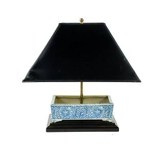Qing Dynasty Blue and White Narcissus Basin Table Lamp