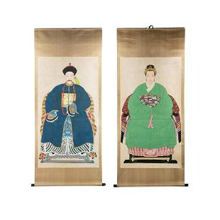 2 Large Chinese Imperial Figure Painted Silk Scrolls