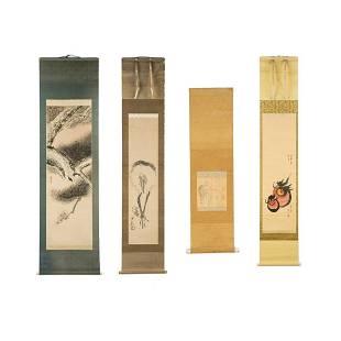 Group of 4 Japanese Watercolor Scroll Paintings