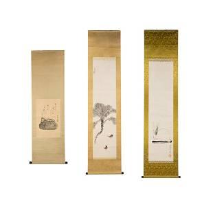 Group of 3 Japanese Watercolor Scroll Paintings