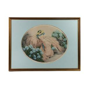 Louis Icart Signed Colored Etching on Paper c. 1929