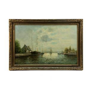 J. Morell Signed Dock Scene Oil on Canvas