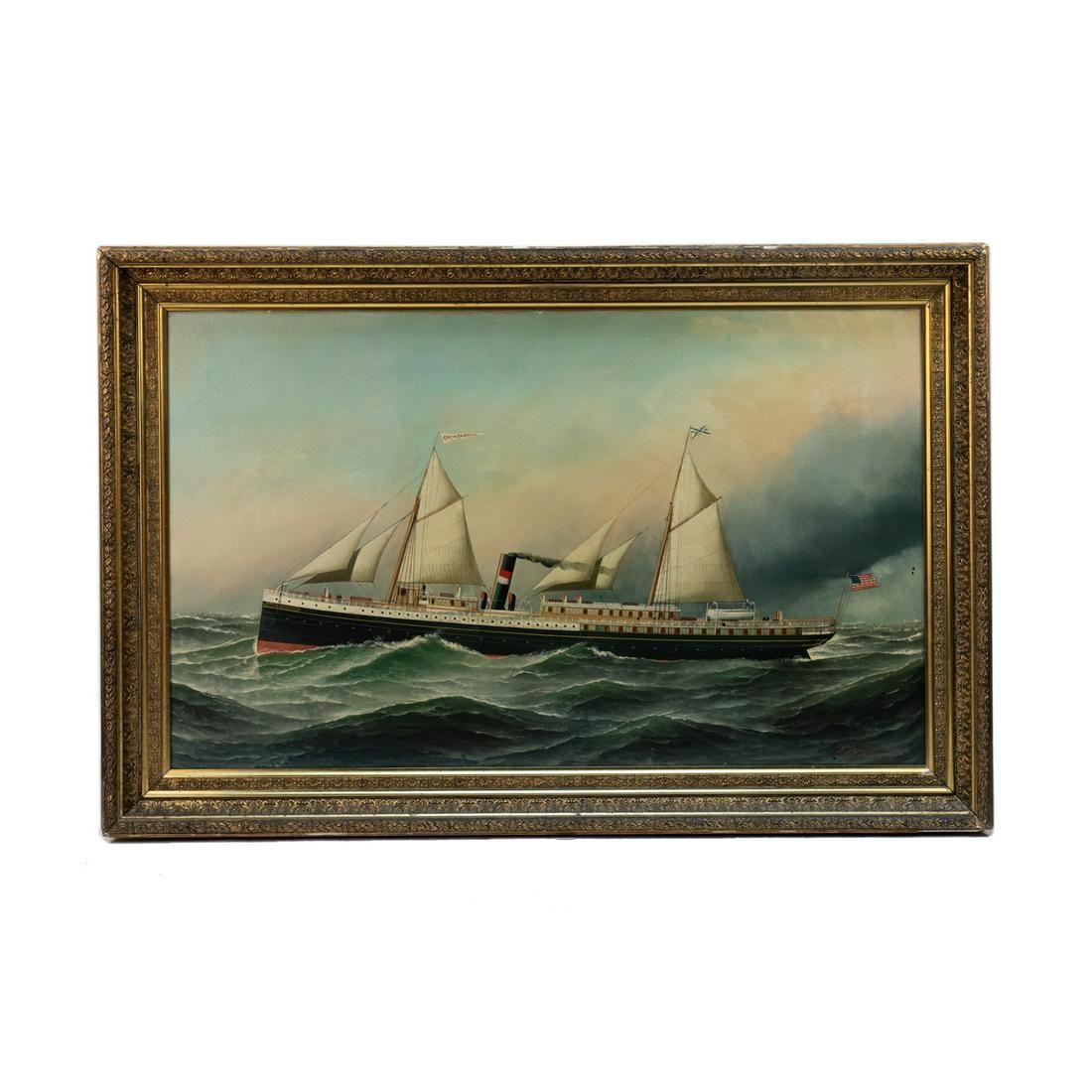 Antonio Jacobsen Signed Oil on Board c. 1889
