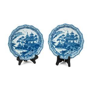 "Pair of Mottahedeh ""Blue Canton"" Porcelain Plates"