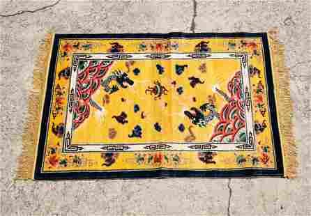 Chinese Art Deco Yellow Silk Dragon Tapestry Rug