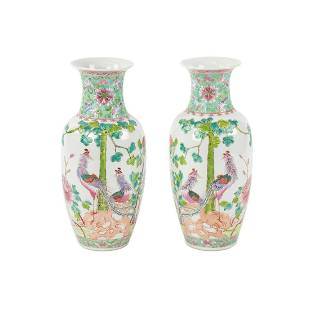 Pair Early 20th C Chinese Hand-Painted Porcelain Vases