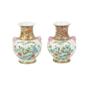 Pair of Chinese Hand-Painted Porcelain Vases