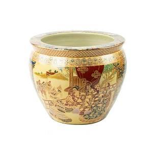 Chinese Hand-Painted Moriage Ceramic Koi Fish Bowl