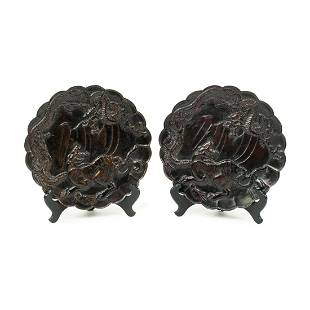 19th C. Antique Chinese Embossed Bronze Plates
