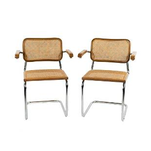 Pair of Marcel Breuer for Knoll Cesca Arm Chairs