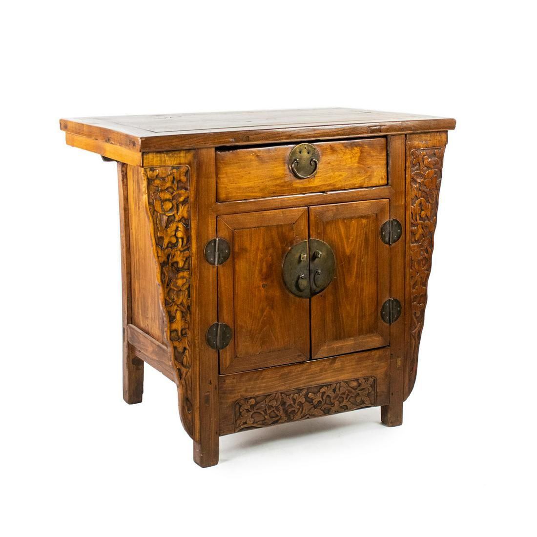 19th C. Chinese Ming Style Elm Altar Cabinet