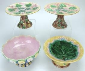 Etruscan Majolica lot of 4 compotes & cake stands,