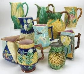 Majolica lot of 10 pitchers, various conditions