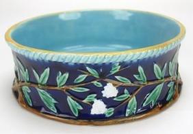 George Jones cobalt Majolica bowl with vine & floral