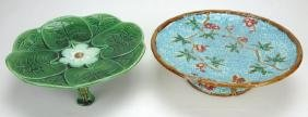 Fielding Majolica turquoise basketweave compote (wear)
