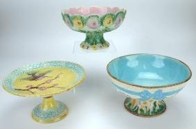Majolica lot of 3 compotes, various conditions