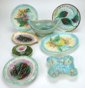 Majolica lot of 8 trays & plates, various condtion