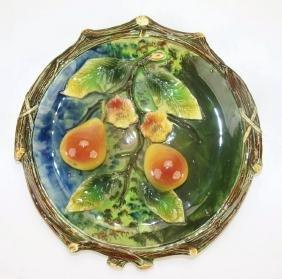 """Josef Strnact majolica fruit plaque, 10"""""""