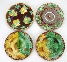 Majolica lot of 4 plates: 2-Wedgwood, Sarrequemines,