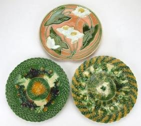"""Majolica lot of 3 large round trays, 11"""""""
