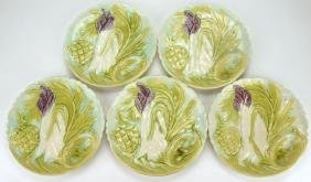 "French Majolica set of 5-10"" asparagus and artichoke"