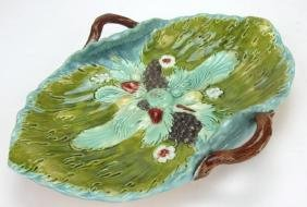 Majolica leaf & fruit tray with vine handles, rim