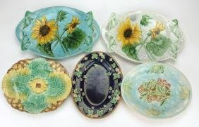 Majolica lot of 5 platters, various conditions