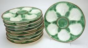 """French Majolica set of 9-9 1/2"""" oyster plates"""