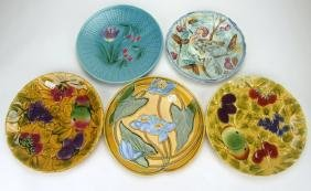 """Majolica lot of 5 large round trays, 10""""-12"""""""
