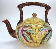 Banks & Thorley bamboo Majolica tea kettle, spout nick,