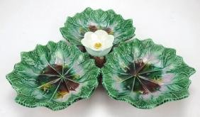 """Majolica three part server with floral handle, 12"""""""