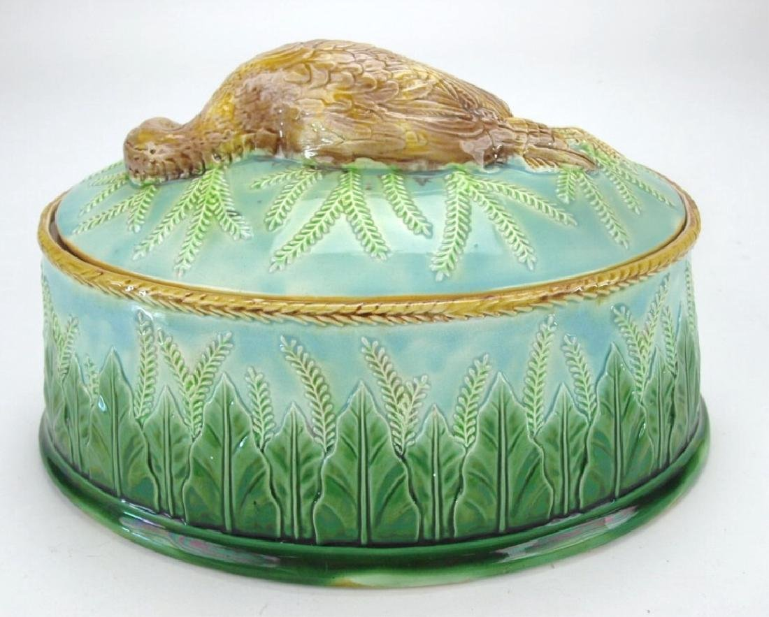 George Jones Majolica game dish with game bird on