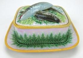 George Jones Majolica pink acanthus leaf sardine and