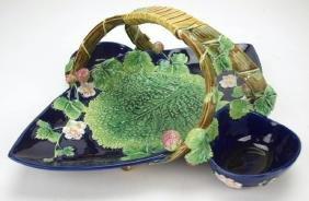 "George Jones cobalt Majolica strawberry basket, 14"""