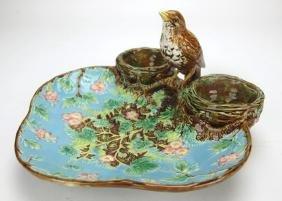 Georg Jones Majolica strawberry server with bird handle
