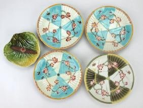 "Wedgwood Majolica set of 4-6 1/2"" fan plates and"