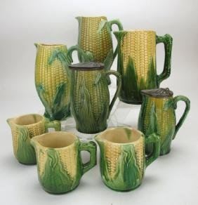 Majolica corn pattern lot of 8 pitchers, various