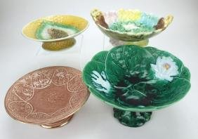Majolica lot of 4 compotes, various conditions