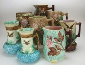 Majolica lot of 8 large pitchers, various conditions