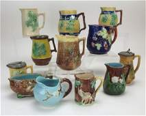 Majolica lot of 12 cream pitchers, various conditions