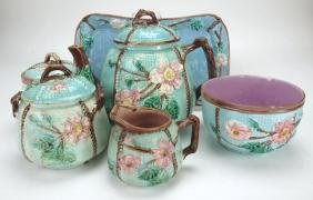 Majolica wild rose and rope turquoise group: tray, jar,