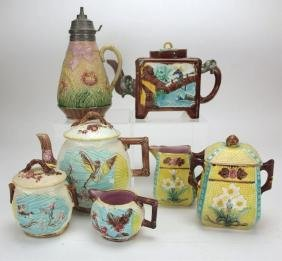 Majolica group of 7 items: syrup pitcher, Oriental