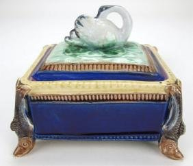 Majolica sardine box with swan on cover and fish on