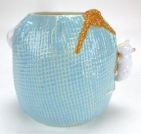 Broomfield Majolica mice and sack biscuit jar, no lid