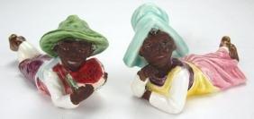 "Majolica Blackmoor boy and girl figures, 5 1/2"""