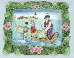 """Continental Majolica seaside scene plaque, 11"""" x 9"""""""