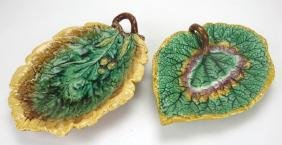 Majolica begonia tray and oak leaf tray, various