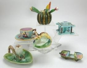 Majolica group of 6 items, various conditions